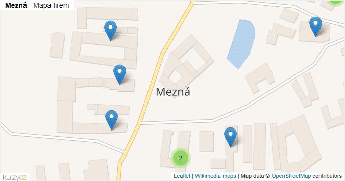 Mezná - mapa rozložení firem v obci.