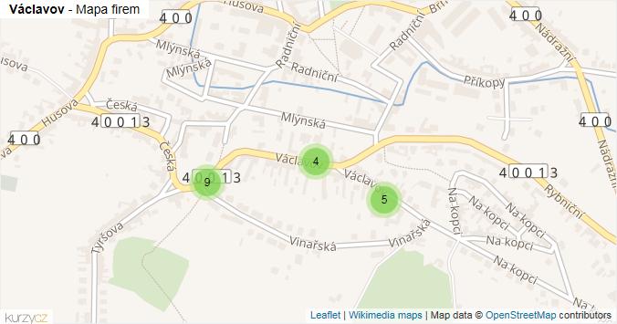 Václavov - mapa rozložení firem v ulici.