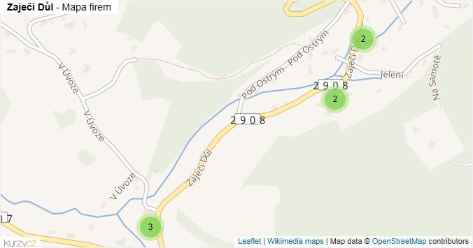 Zaječí Důl - mapa rozložení firem v ulici.