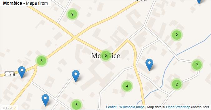 Morašice - mapa rozložení firem v obci.