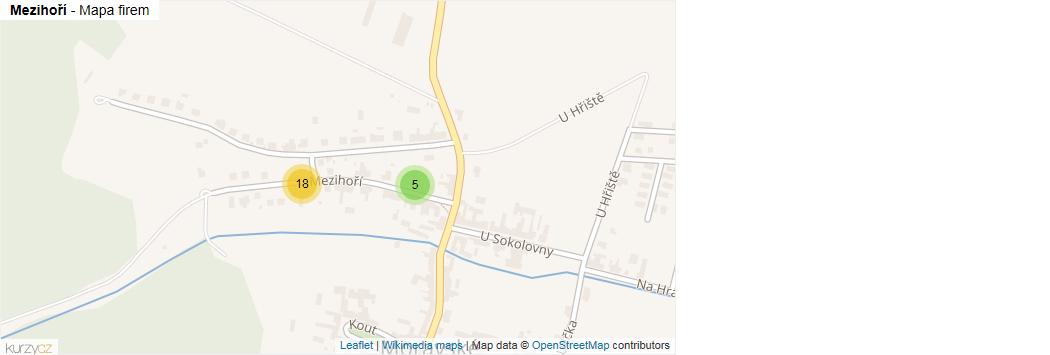 Mezihoří - mapa rozložení firem v ulici.
