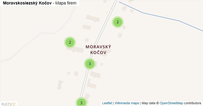 Moravskoslezský Kočov - mapa rozložení firem v obci.