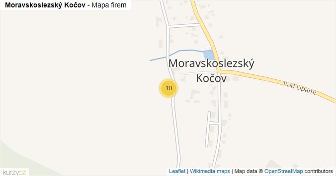 Moravskoslezský Kočov - mapa rozložení firem v části obce.