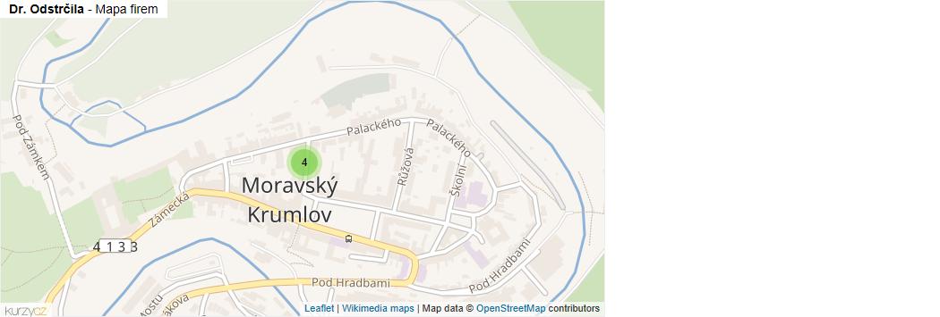 Dr. Odstrčila - mapa rozložení firem v ulici.