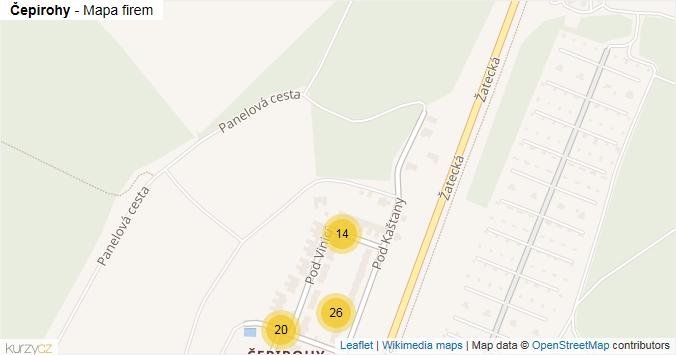Čepirohy - mapa rozložení firem v části obce.