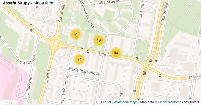 Josefa Skupy - mapa rozložení firem v ulici.