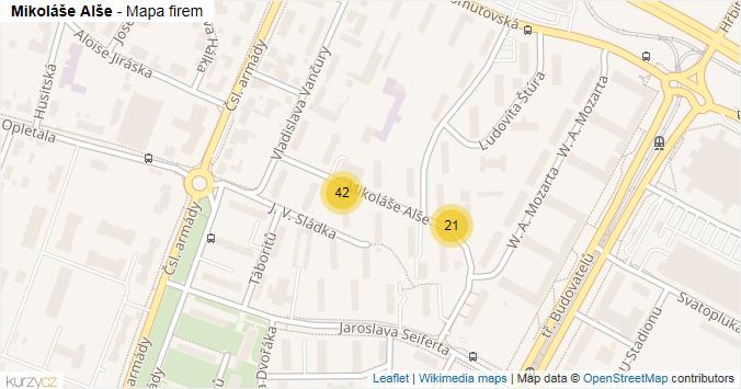 Mikoláše Alše - mapa rozložení firem v ulici.