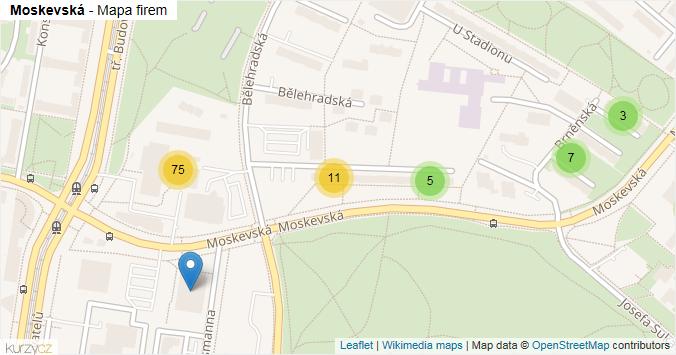 Moskevská - mapa rozložení firem v ulici.