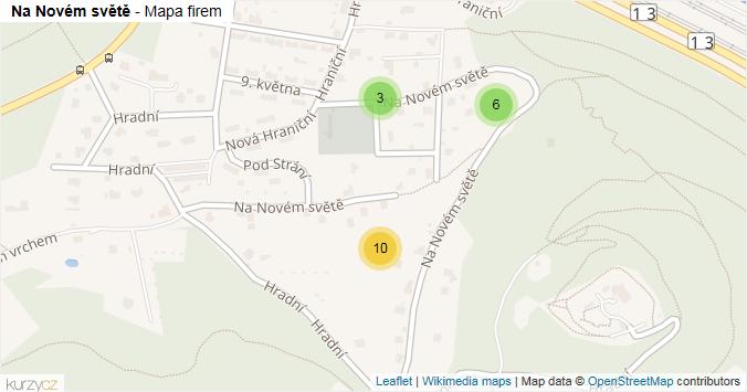 Na Novém světě - mapa rozložení firem v ulici.