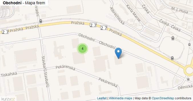 Obchodní - mapa rozložení firem v ulici.