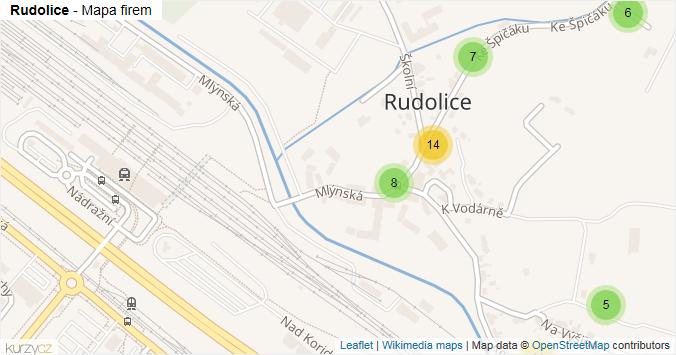 Rudolice - mapa rozložení firem v části obce.