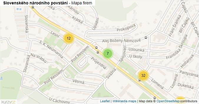 Slovenského národního povstání - mapa rozložení firem v ulici.