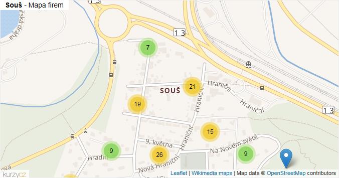 Souš - mapa rozložení firem v části obce.