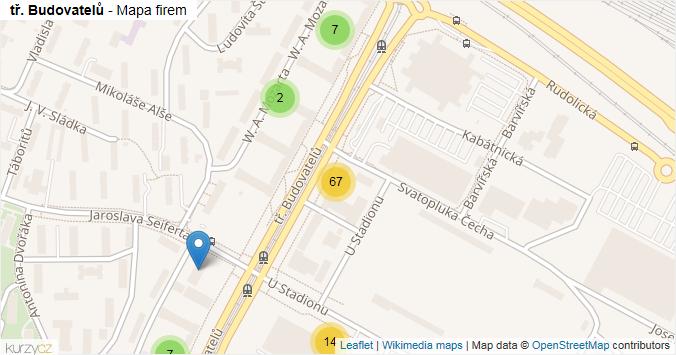 tř. Budovatelů - mapa rozložení firem v ulici.