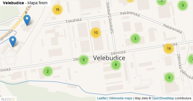 Velebudice - mapa rozložení firem v části obce.
