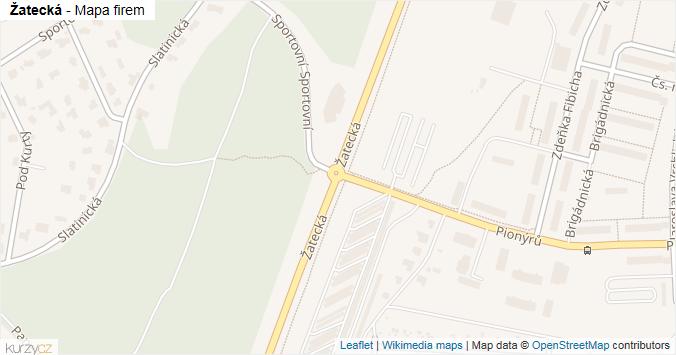 Žatecká - mapa rozložení firem v ulici.