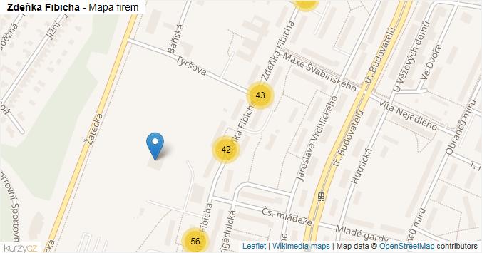 Zdeňka Fibicha - mapa rozložení firem v ulici.