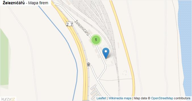 Železničářů - mapa rozložení firem v ulici.