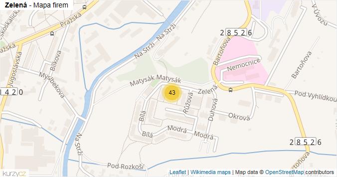 Zelená - mapa rozložení firem v ulici.