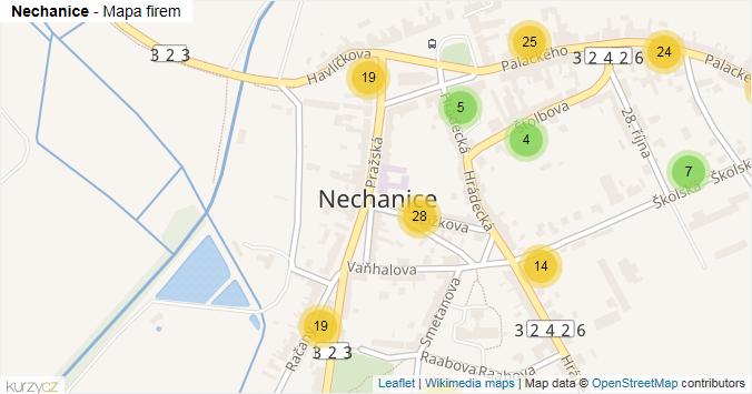 Nechanice - mapa rozložení firem v obci.