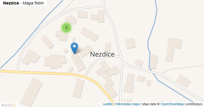 Nezdice - mapa rozložení firem v obci.