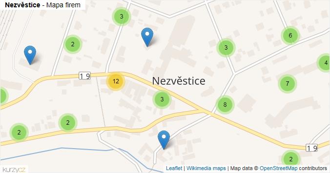 Nezvěstice - mapa rozložení firem v obci.