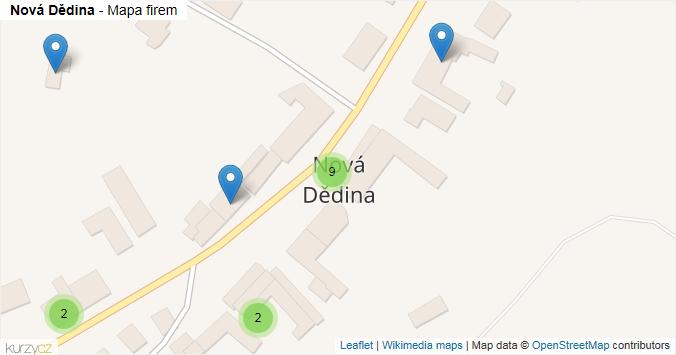 Nová Dědina - mapa rozložení firem v obci.