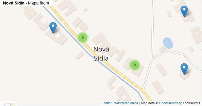 Nová Sídla - mapa rozložení firem v obci.