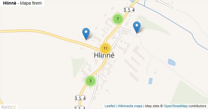 Hlinné - mapa rozložení firem v části obce.