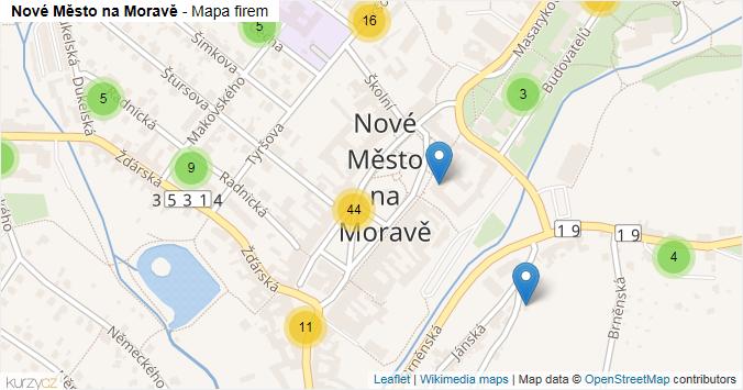 Nové Město na Moravě - mapa rozložení firem v části obce.