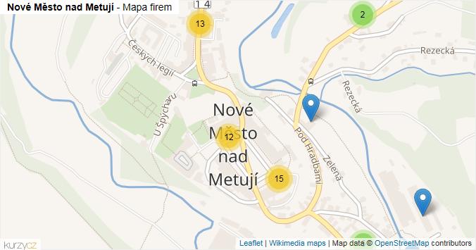 Nové Město nad Metují - mapa rozložení firem v části obce.
