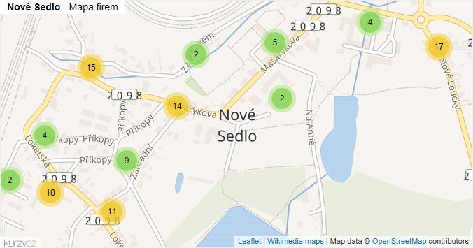 Nové Sedlo - mapa rozložení firem v obci.