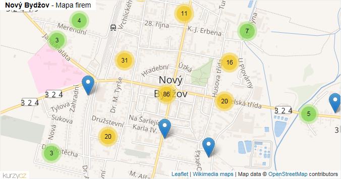 Nový Bydžov - mapa rozložení firem v obci.