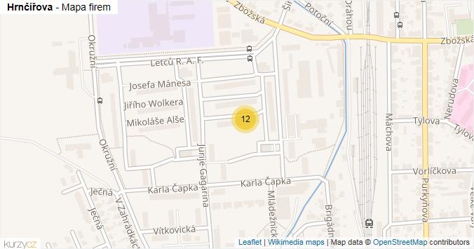 Hrnčířova - mapa rozložení firem v ulici.