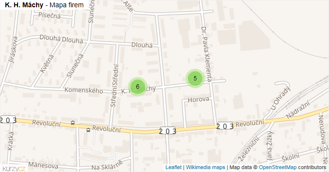 K. H. Máchy - mapa rozložení firem v ulici.