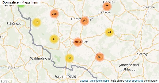 Domažlice - mapa rozložení firem v okrese.
