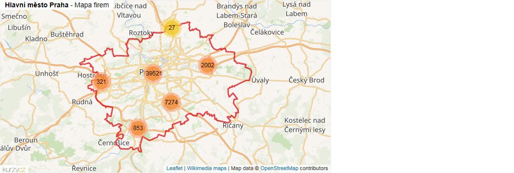 Hlavní město Praha - mapa rozložení firem v okrese.
