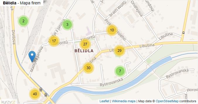 Bělidla - mapa rozložení firem v části obce.