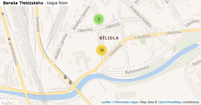 Beneše Třebízského - mapa rozložení firem v ulici.