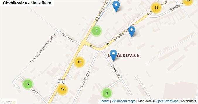 Chválkovice - mapa rozložení firem v části obce.