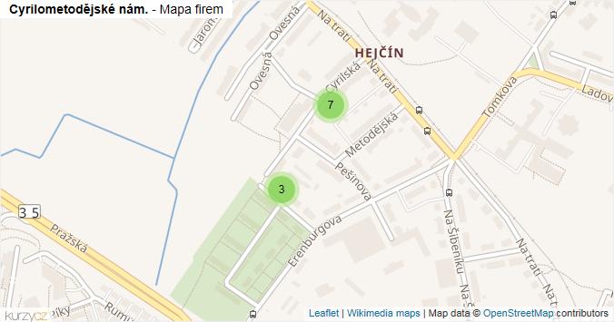 Cyrilometodějské nám. - mapa rozložení firem v ulici.