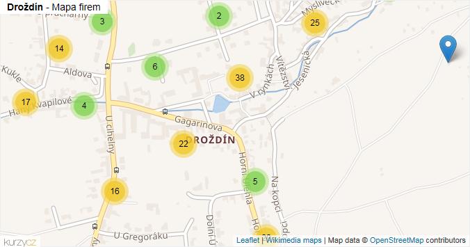 Droždín - mapa rozložení firem v části obce.