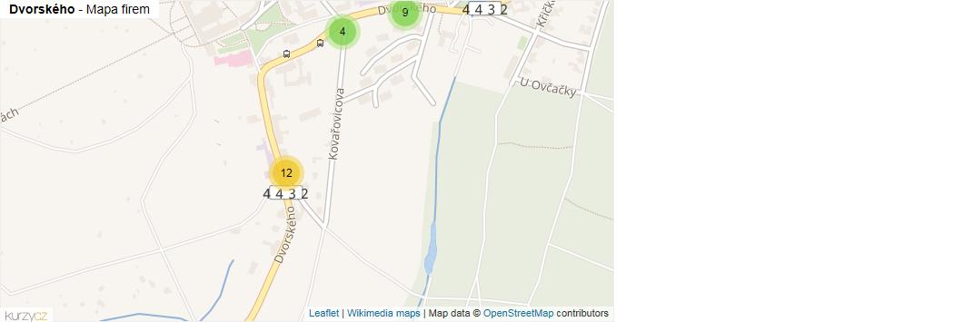 Dvorského - mapa rozložení firem v ulici.