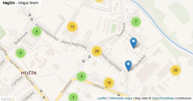 Hejčín - mapa rozložení firem v části obce.