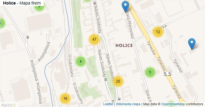 Holice - mapa rozložení firem v části obce.