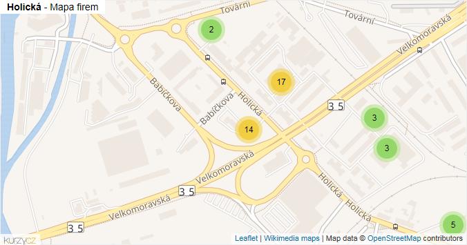 Holická - mapa rozložení firem v ulici.