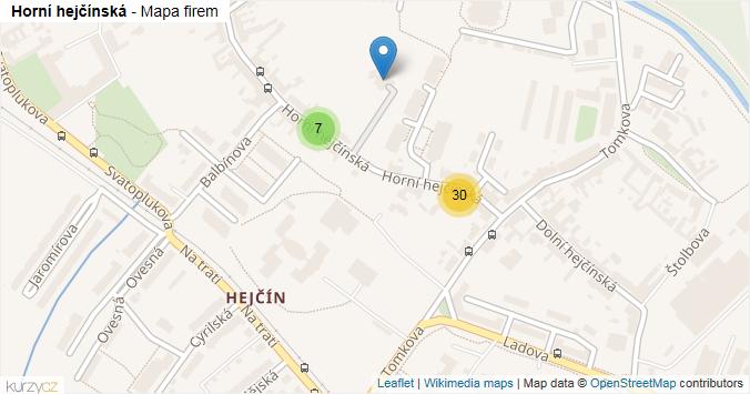 Horní hejčínská - mapa rozložení firem v ulici.