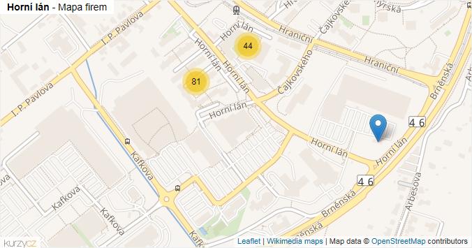 Horní lán - mapa rozložení firem v ulici.