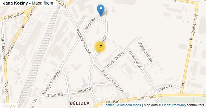 Jana Koziny - mapa rozložení firem v ulici.