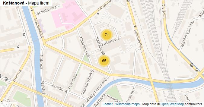 Kaštanová - mapa rozložení firem v ulici.